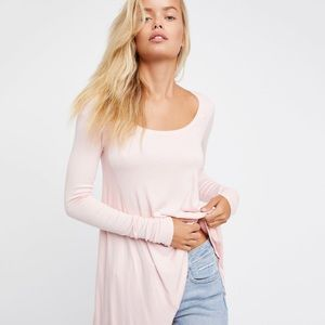 NWT Free People January Tunic Tee in Ballet Pink